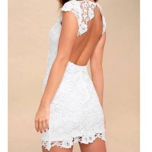 Lulus White Backless Lace Dress Romance Language